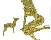 Miniature Pinscher and Pin Up Silhouette, Gold Glitter Vinyl Decal