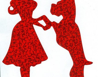 Roxy the Boxer and Pin Up Silhouette, Red Glitter Vinyl Decal