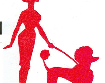 Poodle and Pin Up Silhouette, Pink Glitter Vinyl Decal