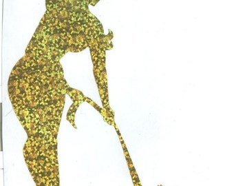Yorkie and Pin Up Silhouette, Gold Glitter Vinyl Decal
