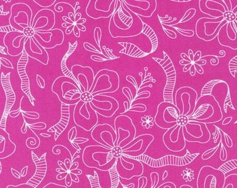 Fuchsia Flowers Fabric by Piece O' Cake Designs from Daisies and Dots Robert Kaufman
