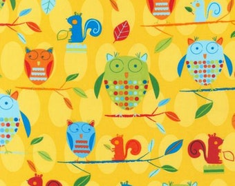 Animal Party Too -- Owls in Daylight -- Robert Kaufman Fabrics, by the yard, out of print, quilt fabric, apparel fabric, craft fabric, birds