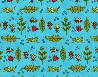 Moda Meadow Friends Blue Bugs Ladybugs Grasshoppers, by the yard, quilt fabric, apparel fabric, decor fabric, kids fabric, animals,