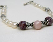 Flower Petal Beads and Freshwater Pearl Bracelet Made from Your Flowers