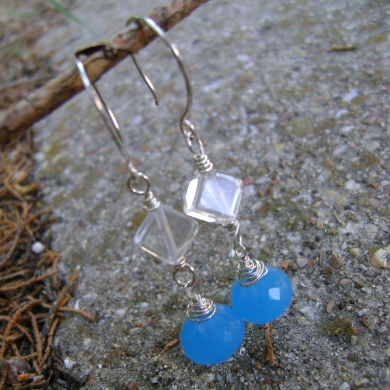 Caribbean Cooler - chalcedony, rock crystal quartz and sterling earrings - ready to ship
