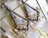 Chandelier Earrings Moonstone Dangle Earrings Blue gemstone Earrings Silver Jewelry
