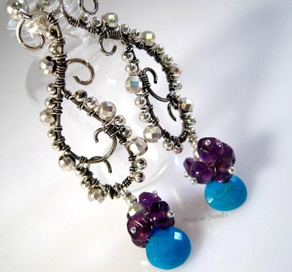 Amethyst Earrings Turquoise Earrings Gemstone Jewelry Amethyst Jewelry Silver Earrings