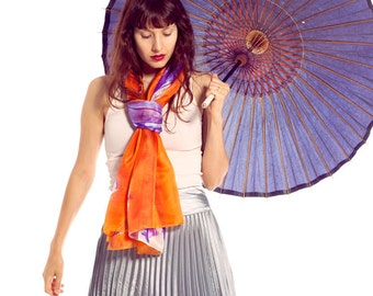 Bright orange silk scarf, shawl. Summer silk shawl painted by hand. Abstract flowers scarf by Dimo. Violet Tulips in Orange-Wearable art-