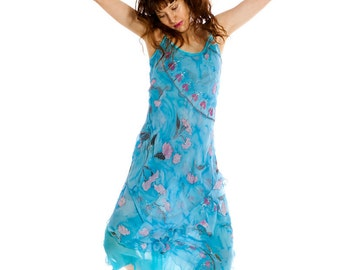 Hand painted dress-Sakura blossoms. Bridesmaid floral dress Silk chiffon dress/ Summer party dress double layered Cherry blossom dress
