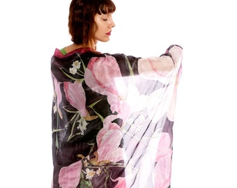 Magnolias Silk scarf. Floral wrap shawl in pink and black. Hand painted silk scarf. Spring scarves/ Lightweight scarf, Gift for mother OOAK
