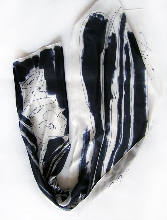 Hand painted silk scarf Black and White scarf. Long fashion abstract scarf Floral scarf shawl painted. Art to wear Painting on silk by Dimo