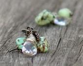 Sea Cluster Earrings Beach Aqua Gemstone Wire Wrapped Briolette