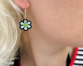 Earrings - Beachy Minty Flowers - Pearl Light Mint, Metallic Turquoise and Metallic Bright Yellow - and Opaque Black