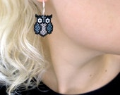 Earrings - Black Metal Owls - Silverlined Grey and Gun metal