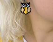 Earrings - Bright Golden Owls