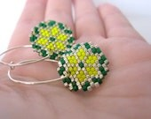 Earrings - Nordic Stars - Bright Yellow, Green and Silver - .925s sterling silver hoops