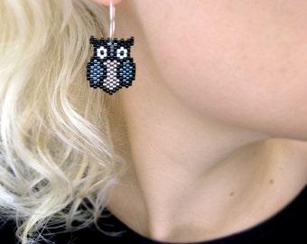Earrings - Black Metal Owls - Silverlined Grey and Gun metal