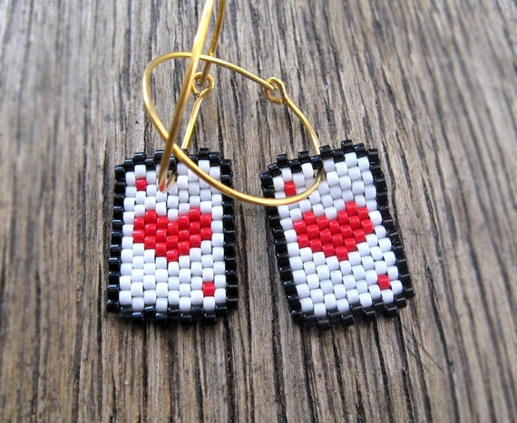 Hoop Earrings - Aces for The Queen of Hearts
