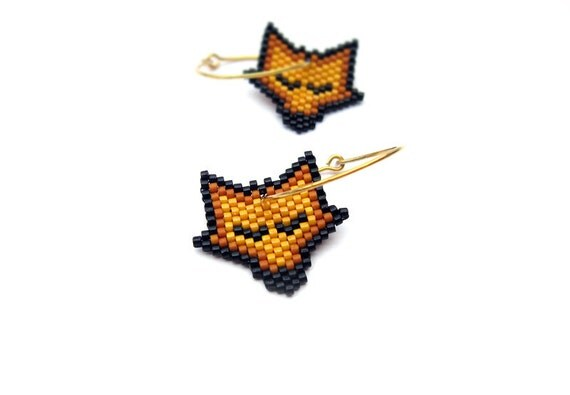 Earrings - Sleeping Pumpkin Fox - Light Orange, Burned Dark Orange and Black - 24k Gold plated sterling silver
