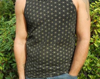 Black and Gold Flower of Life Tank Top - Sacred Geometry - Yoga - Eco fashion - Seed of Life
