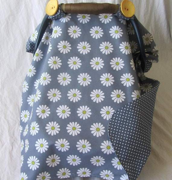 Girl Baby Car Seat Cover Canopy gray citron yellow white daisy