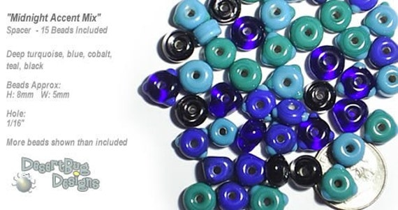 ACCENT Handmade Lampwork Beads 15 Spacers Midnight Mix Deep Blue Turquoise Teal Small by DesertBug Designs