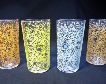 Vintage Drinking GLASSES / BUBBLE Motif / TUMBLERS / Set of 4