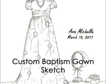 Custom Baptism Gown Sketch