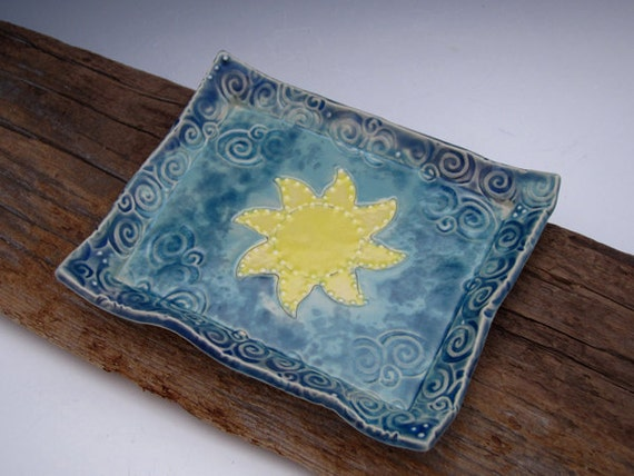 Rapunzel Snack Plate - Sun Design - Soap Dish - by DirtKicker Pottery