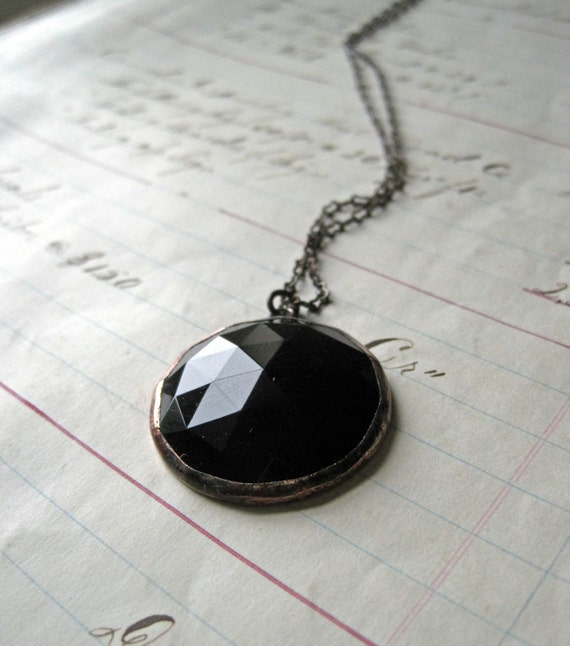 Midnight Faceted Stained Glass Necklace Black Jewelry
