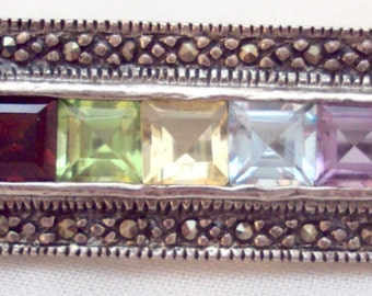 Gemstone, Marcasite Sterling Silver Bar Pin
