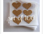 envelope seals - small gold glitter heart stickers -  made to order
