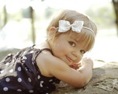 Small Ruffle Bow Skinny Stretch Headband You Pick the Color