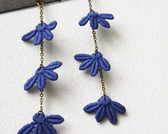 midnight snowflakes earrings. flirty midnight blue lace flowers dangle