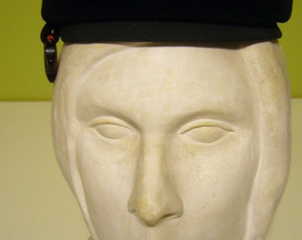 Black Velour Pill Box Hat with Lucite accent