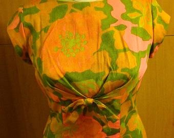 Hawaiian Wedding Dress with Train, Psychedellic Floral, Lauhala of Hawaii