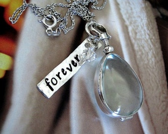 Teardrop Photo Locket Glass Personalized Mothers Antiqued Tag Charm Crystal Perfect Gift New Mom Mothers Daughter Sister