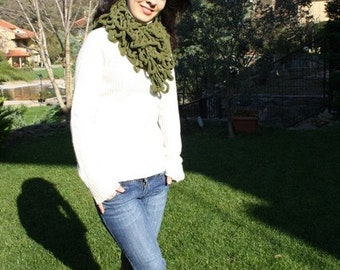 Handmade Crochet Scarf  Womens  Winter Scarf Green Mulberry Scarf -Cocoon  Scarf  -  Fall  Winter Fashion  Accessories- Mulberry Long Scarf