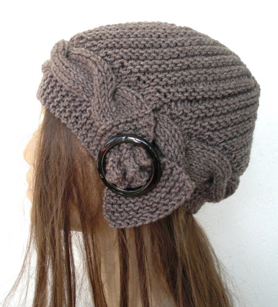 Knit hat  Womens Hat -   Winter  Hat   Handmade   Women Accessories   Cloche Hat  in  taupe  buckle -   winter Accessories   Winter  fashion