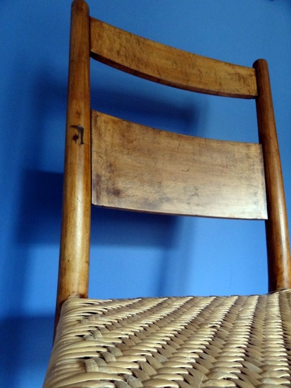 Early 1800's wooden chair with cane herringbone woven seat