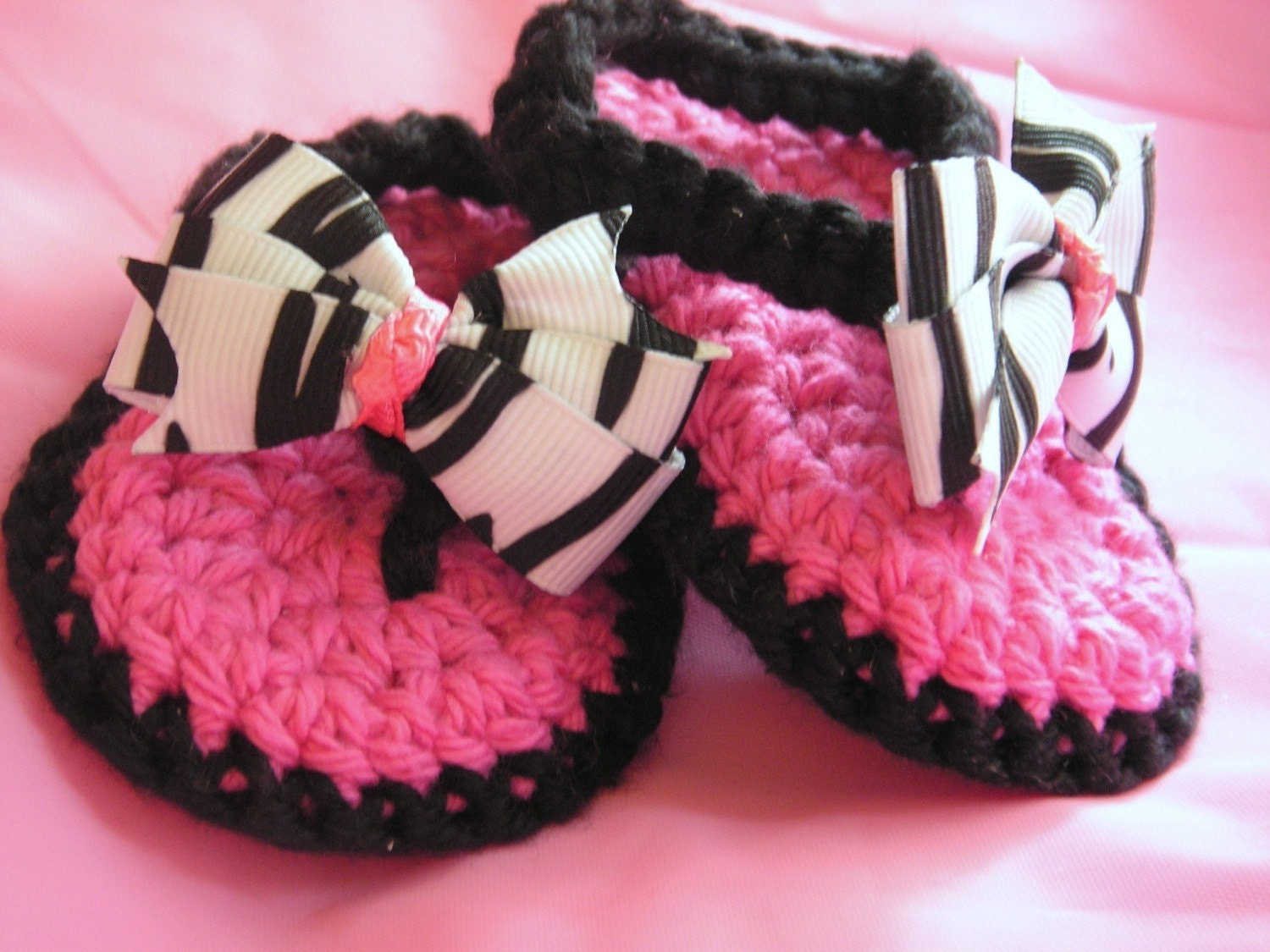 Crochet Baby Thong Sandals in Black and Hot Pink by ...