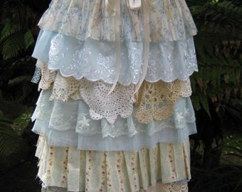 Vintage Kitty.. shabby chic.. roses and pearls.. lace and crochet.. high tea, garden party.. blues.. X-SMALL
