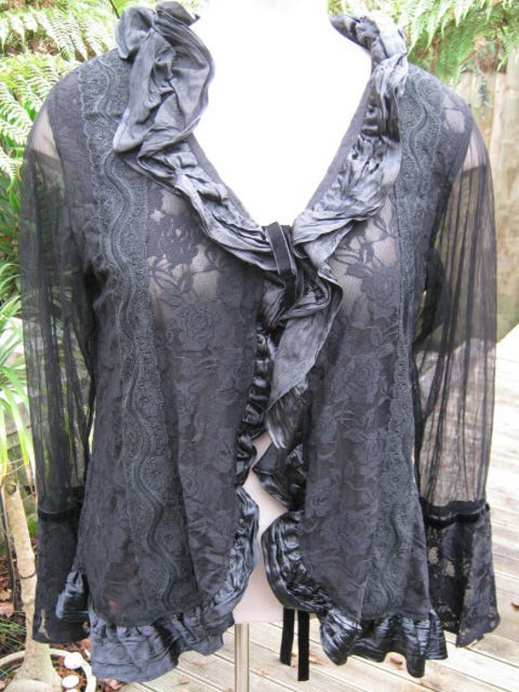 SIREN...steampunk lace and ruffles..gypsy couture, stevie nicks.. passionate purple or jet black ...XL / XXL  plus sizes