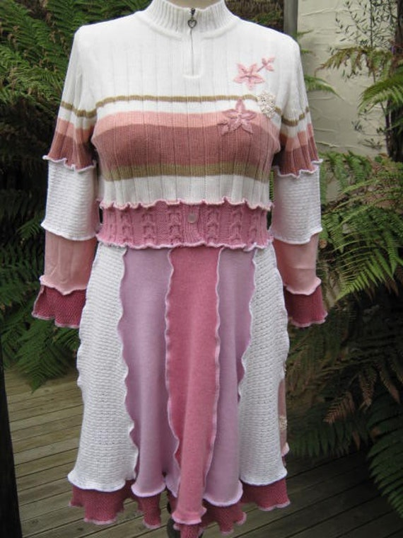SALE.. upcycled sweater dress.. pinks creams ecru... one of a kind.. size large..