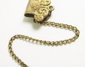 Antique Edwardian Clip Chain Fob - Antique Jewelry - Repousse - Scrolls - Vest Chain - Gold Filled