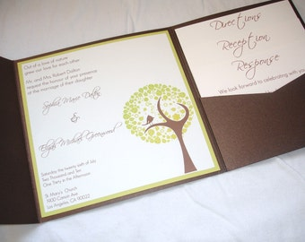 Love bird pocketfold wedding invitation (SAMPLE)