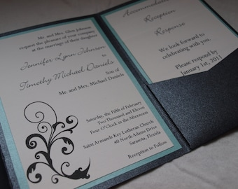 Custom flourish pocketfold wedding invitation (SAMPLE)