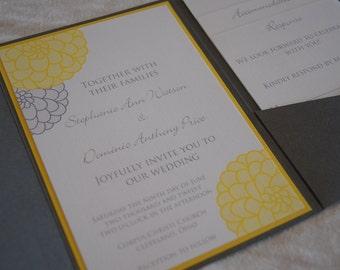 Gray and yellow Dahlia pocketfold wedding invitation (SAMPLE)