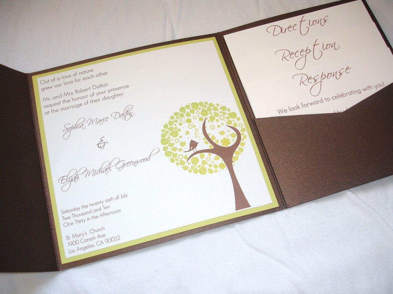 Bird Wedding Invitation: Love Bird Pocketfold Wedding Invitation SAMPLE By SomerStudios