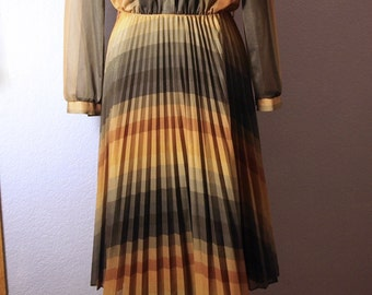 Earth Tones - Retro Pleated Dress